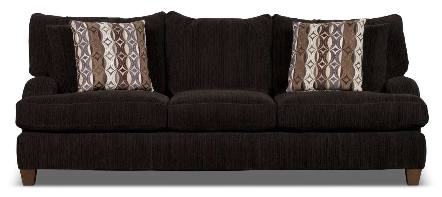 Living Room Furniture - Putty Chenille Studio-Size Sofa – Chocolate