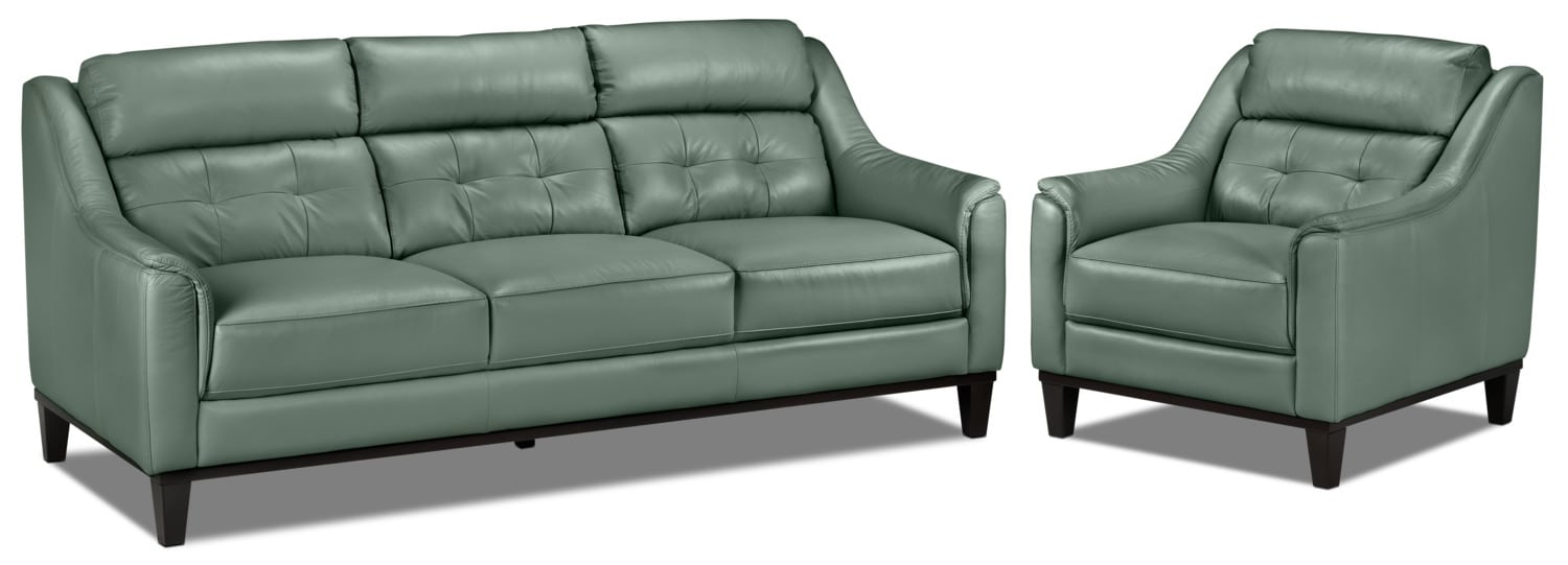 Linda Sofa and Chair Set - Seafoam