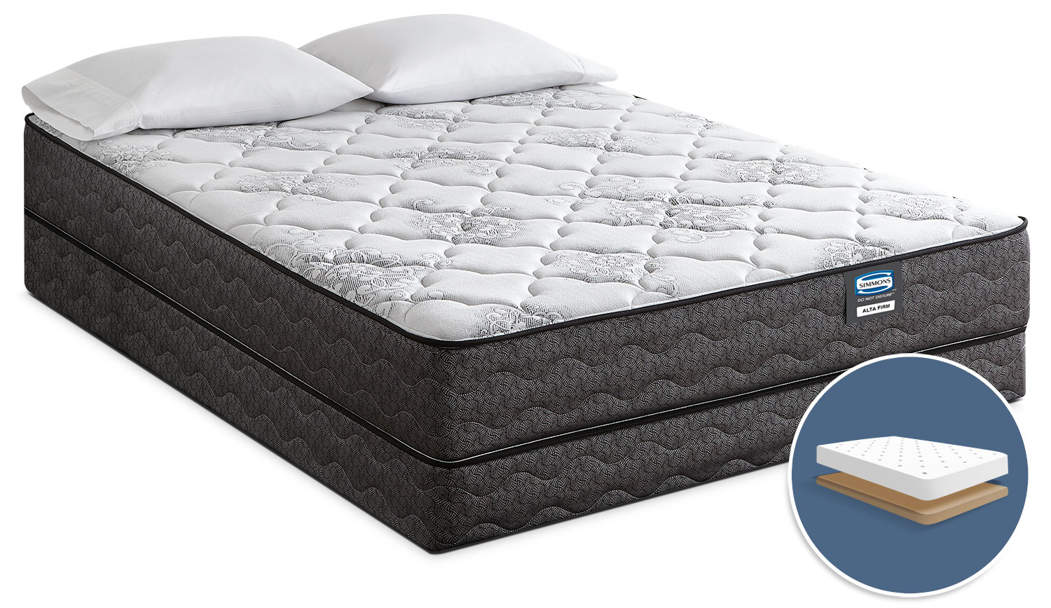Simmons Do Not Disturb Alta Tight-Top Firm Low-Profile Full Mattress Set