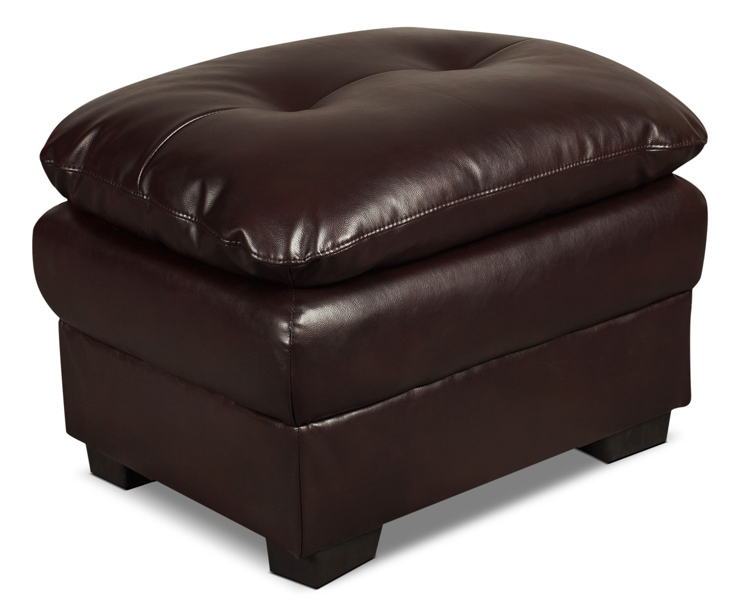 Bryon Leather-Look Fabric Ottoman – Brown