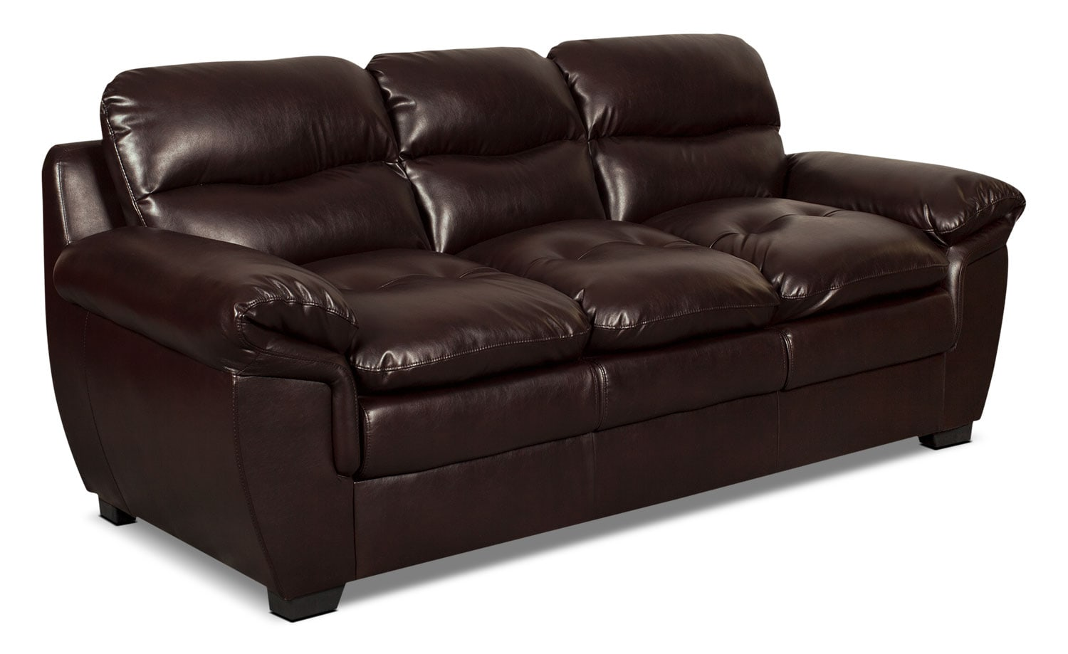 Bryon Leather-Look Fabric Sofa – Brown