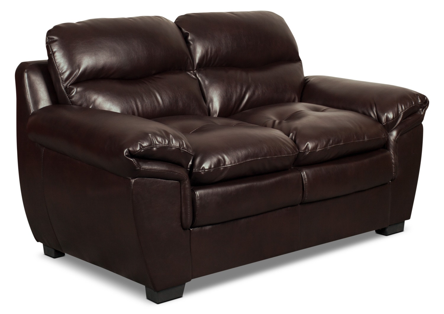 Living Room Furniture - Bryon Leather-Look Fabric Loveseat – Brown