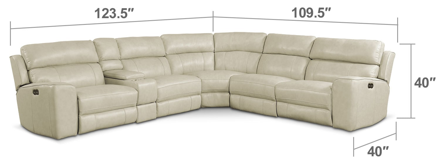 Newport 6 Piece Power Reclining Sectional with 2 Reclining