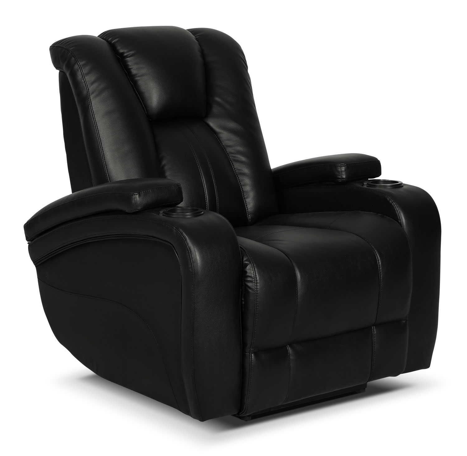 Zander Bonded Leather Power Reclining Chair - Black