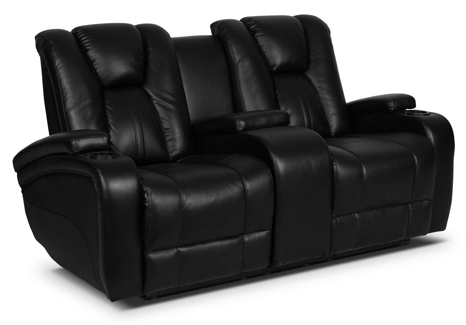 Zander Bonded Leather Power Reclining Loveseat - Black