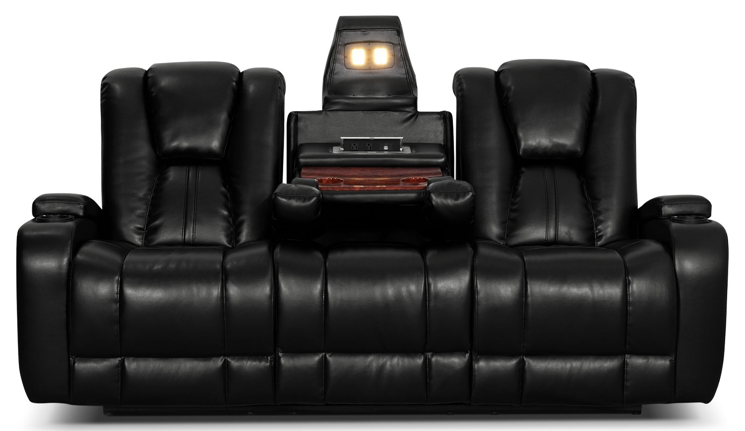 Zander Bonded Leather Power Reclining Sofa Black The Brick