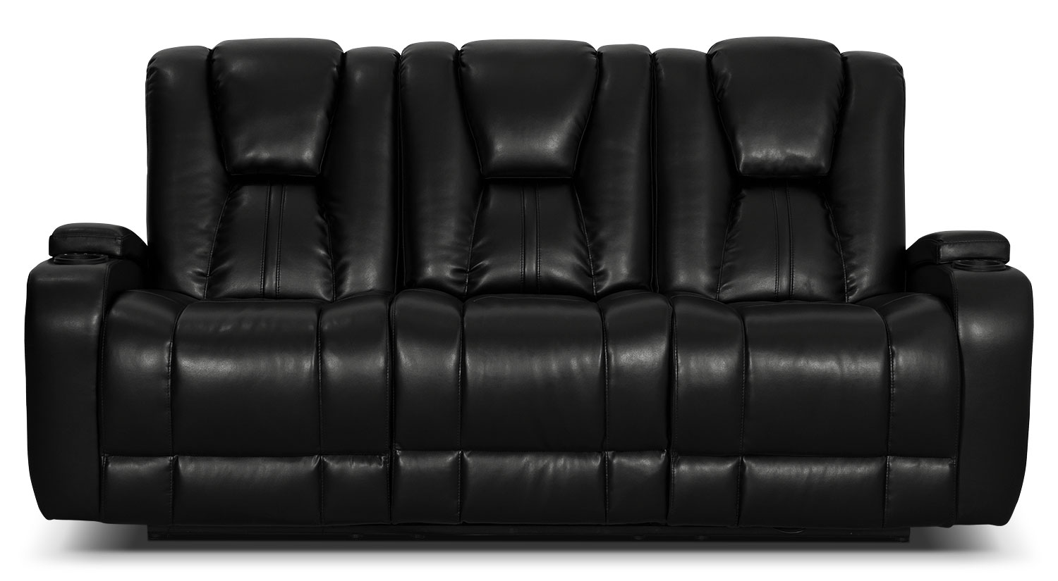 Zander Bonded Leather Power Reclining Sofa - Black