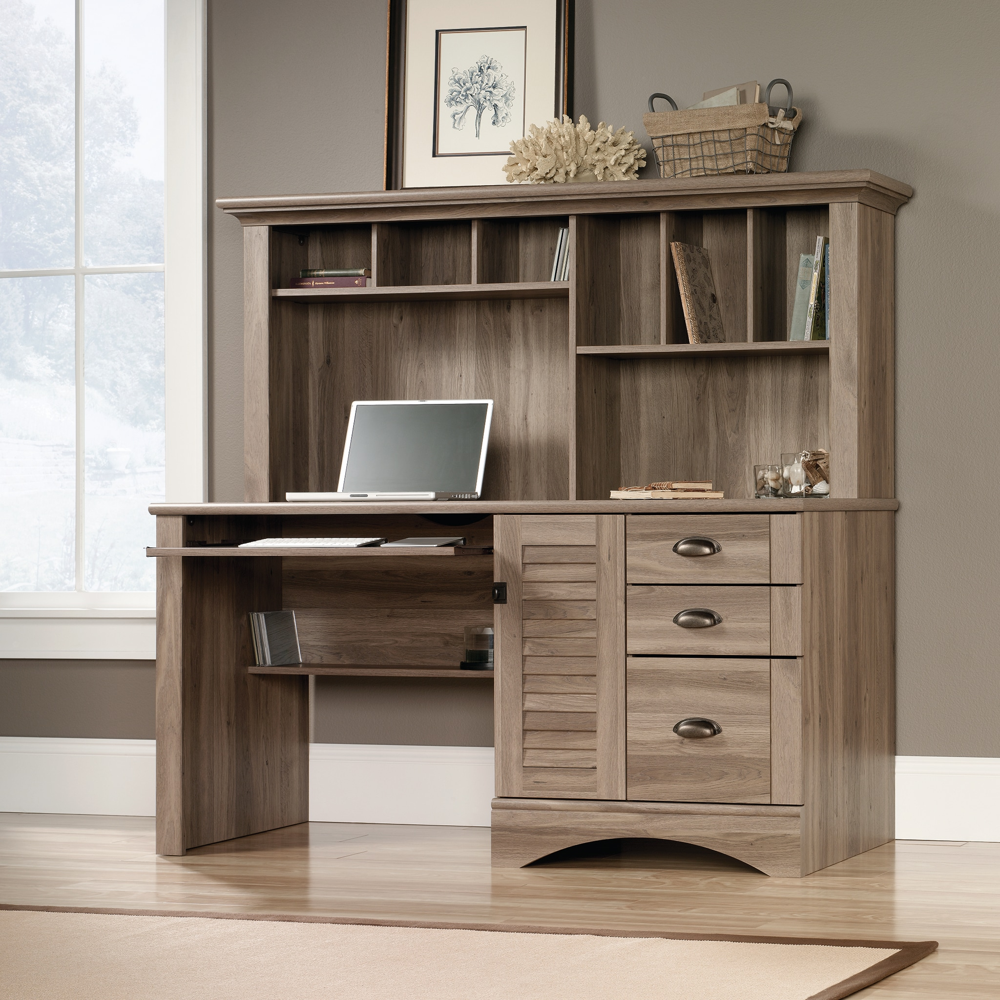 Harbor View Desk with Hutch - Salt Oak