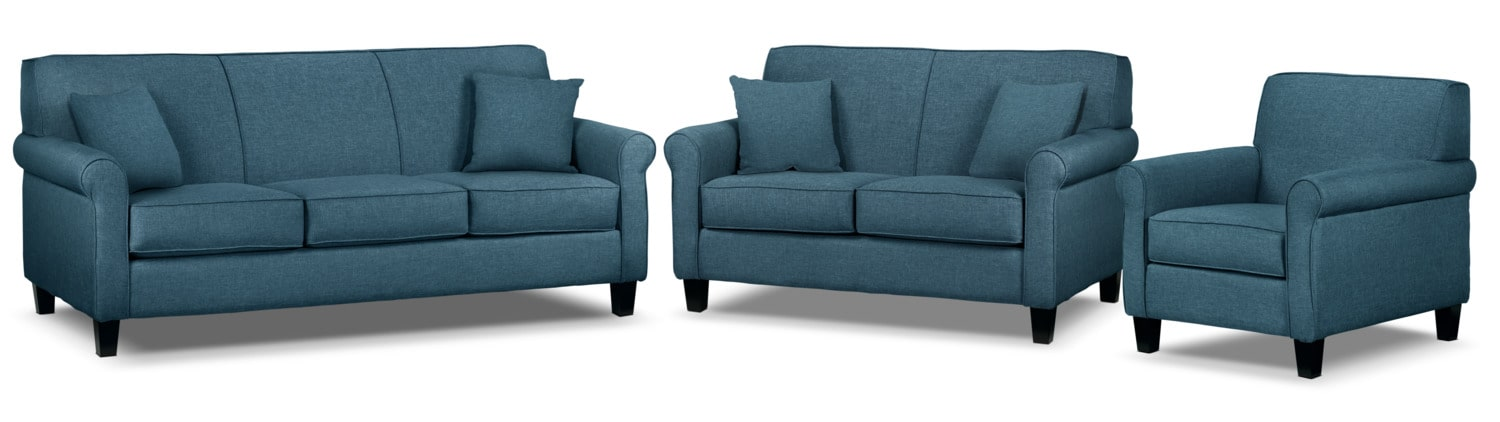 Ariel Sofa, Loveseat and Chair Set - Riviera Blue