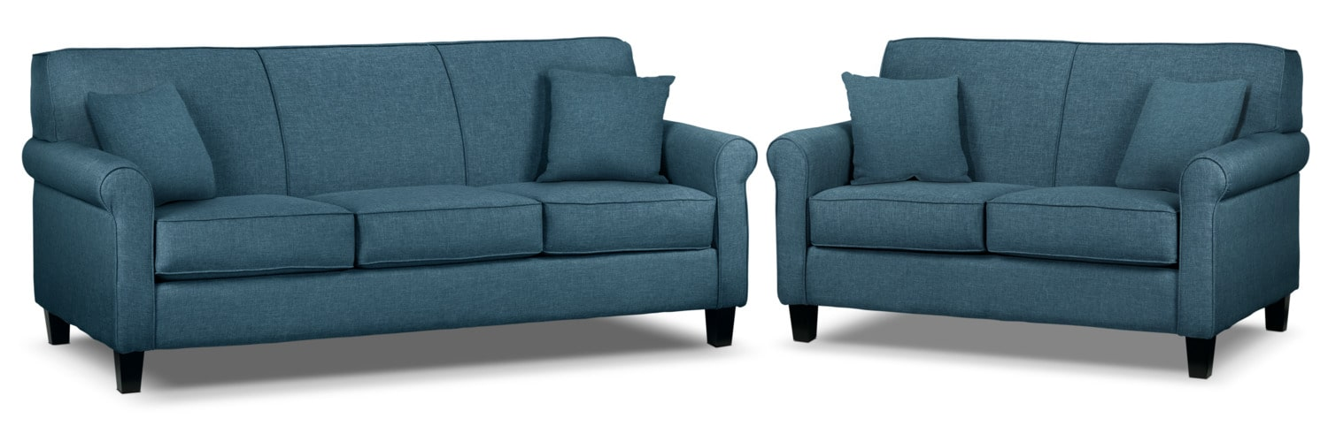 Ariel Sofa and Loveseat Set - Riviera Blue