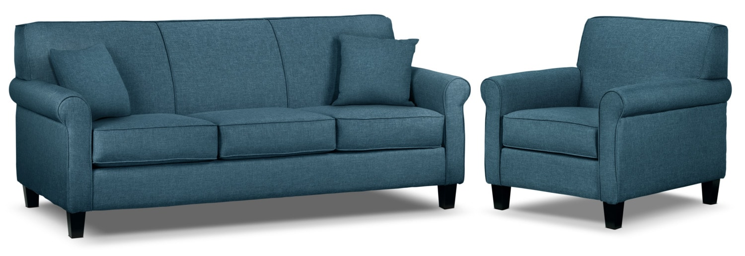 Ariel Sofa and Chair Set - Riviera Blue