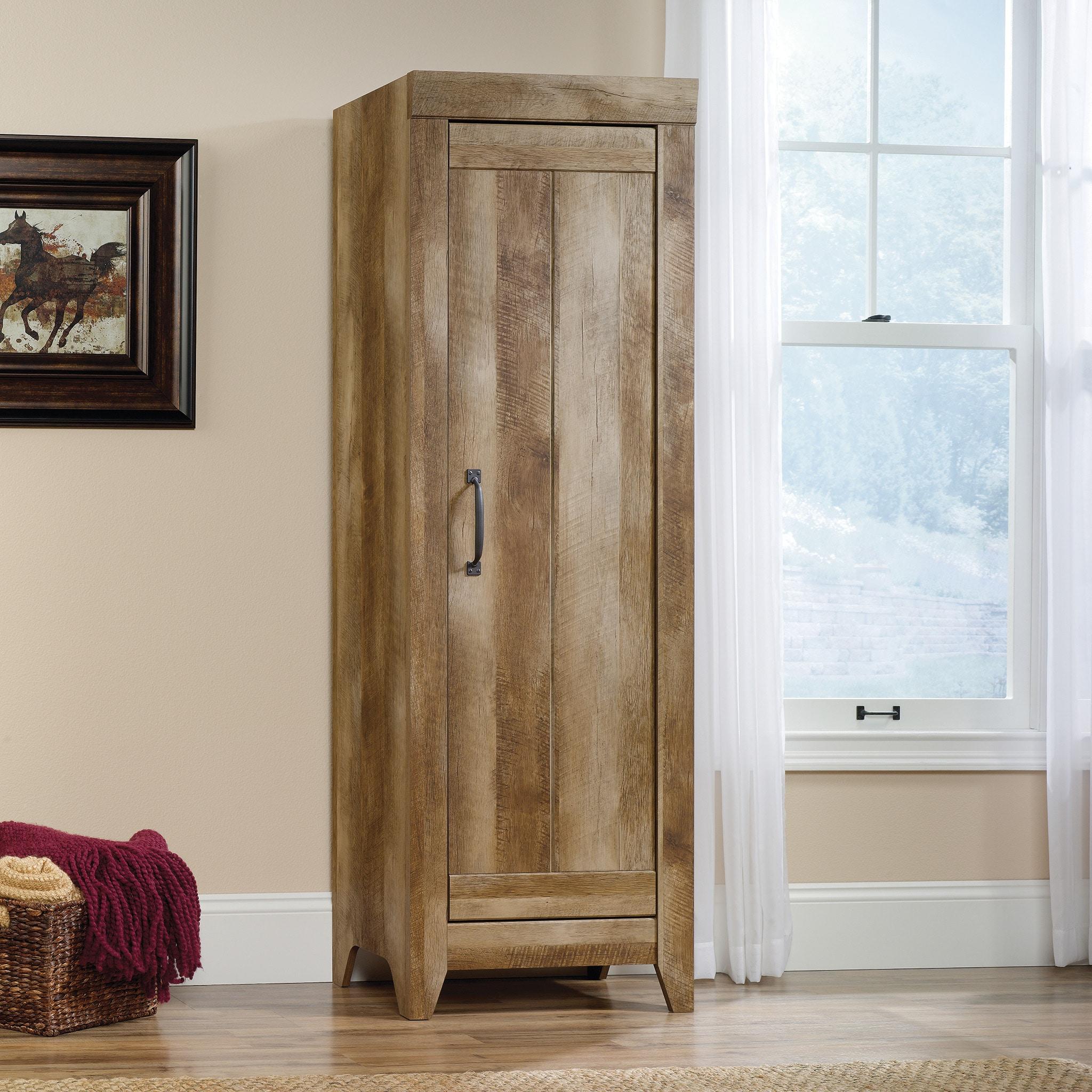 Adept Narrow Storage Cabinet - Craftsman Oak