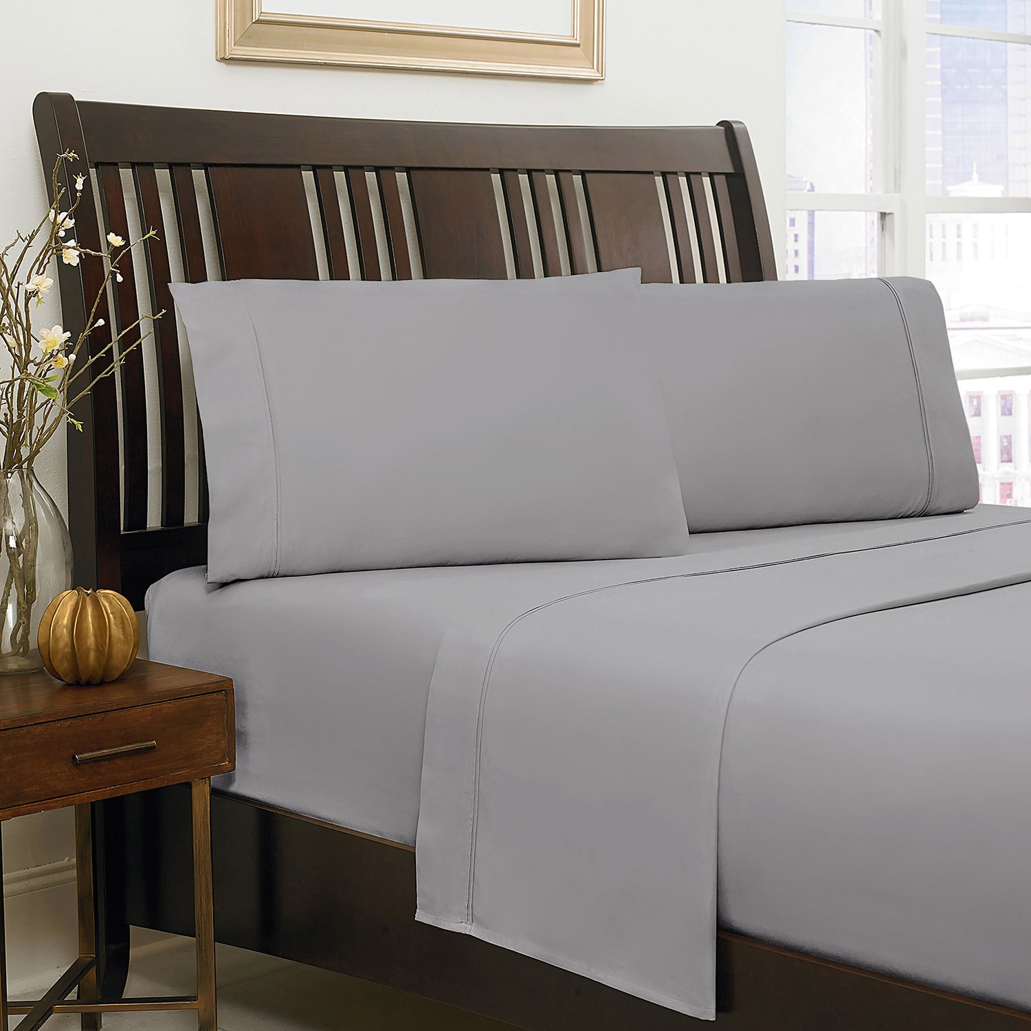 500 Thread Count Queen Sheet Set – Grey