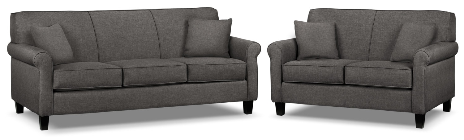 Ariel Sofa and Loveseat Set - Marmor