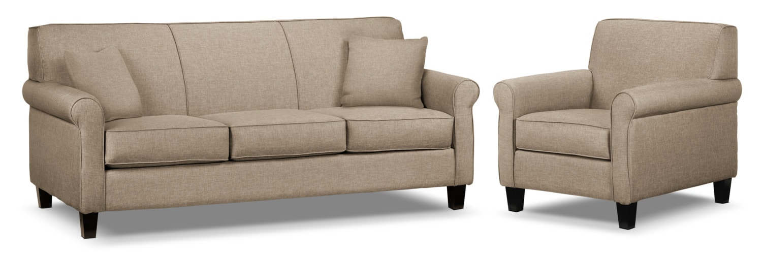 Ariel Sofa and Chair Set - Beige