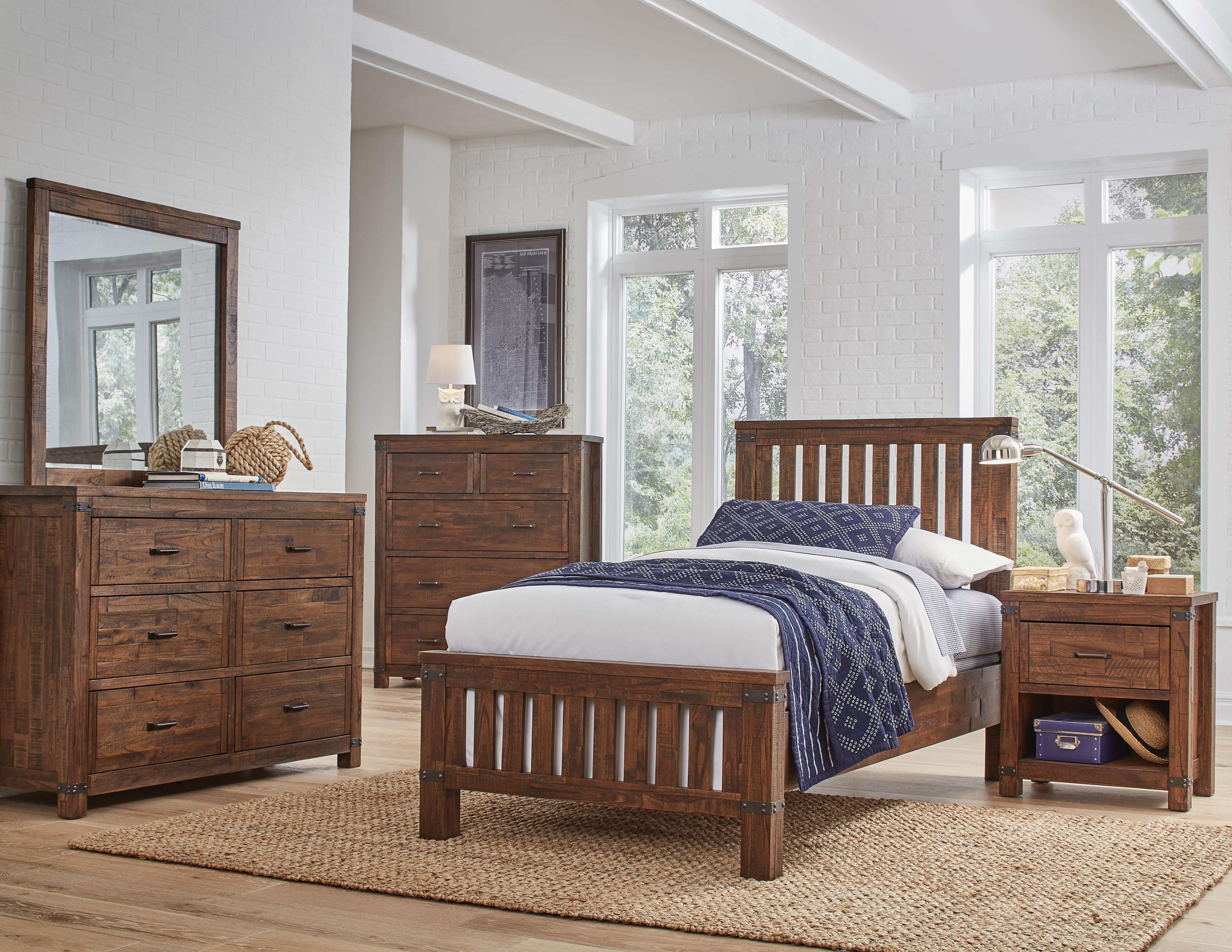 Lil Everett 4 Piece Twin Bedroom - Brushed Acacia