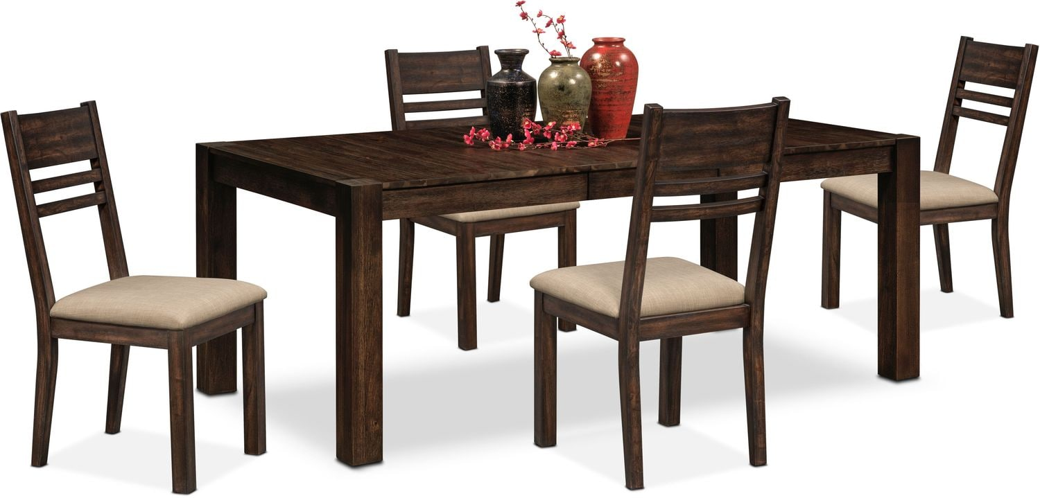 Tribeca table and 4 side chairs tobacco value city for Side chairs for dining table