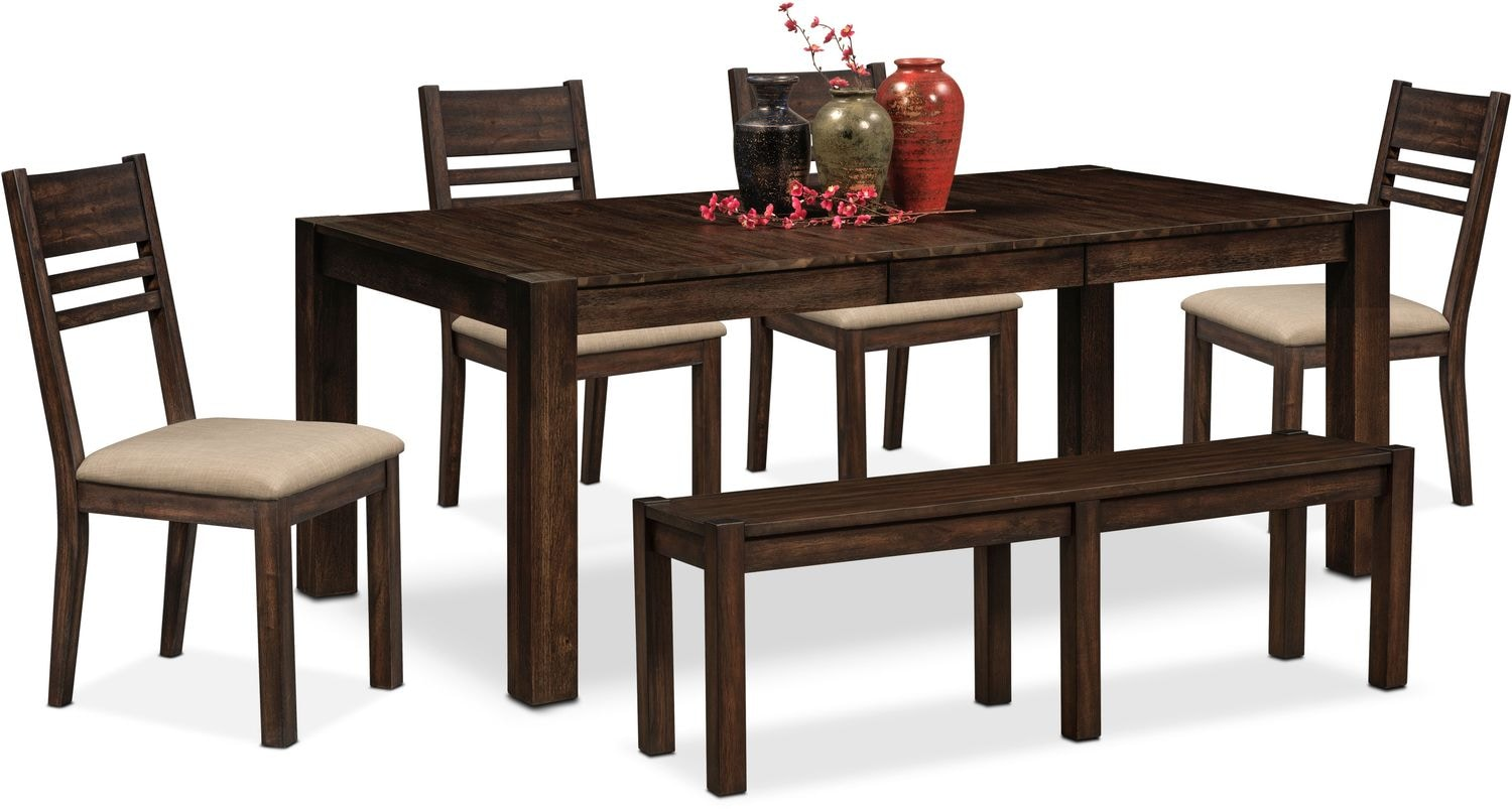 Tribeca table 4 side chairs and bench tobacco value for Side chairs for dining table