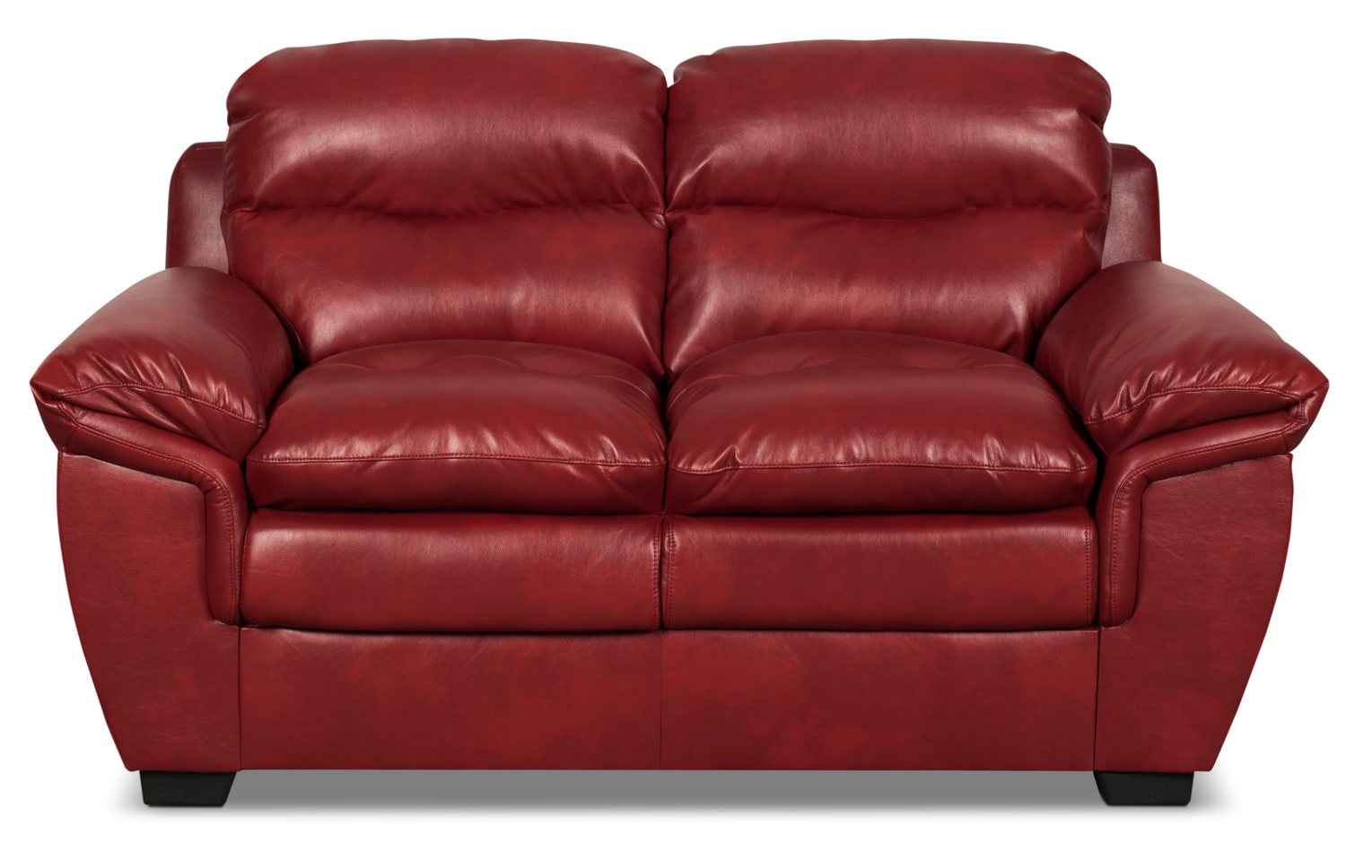 Bryon Leather-Look Fabric Loveseat – Red