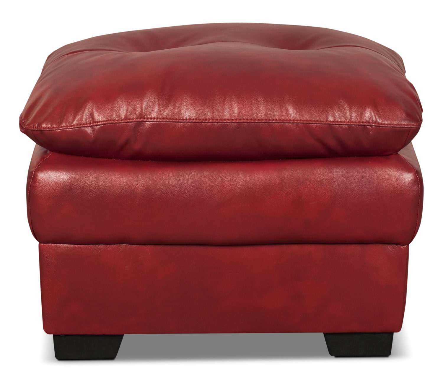 Bryon Leather-Look Fabric Ottoman – Red
