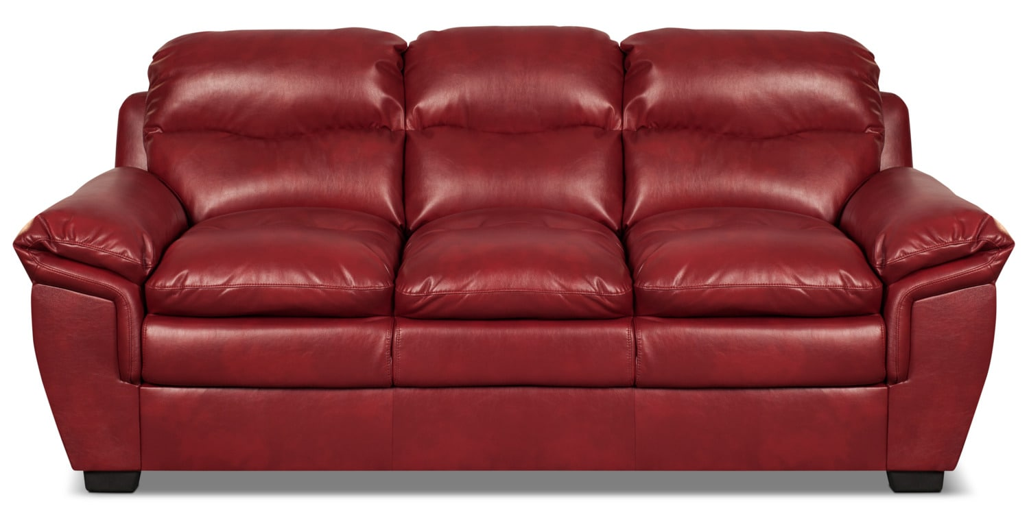 Bryon Leather-Look Fabric Sofa – Red