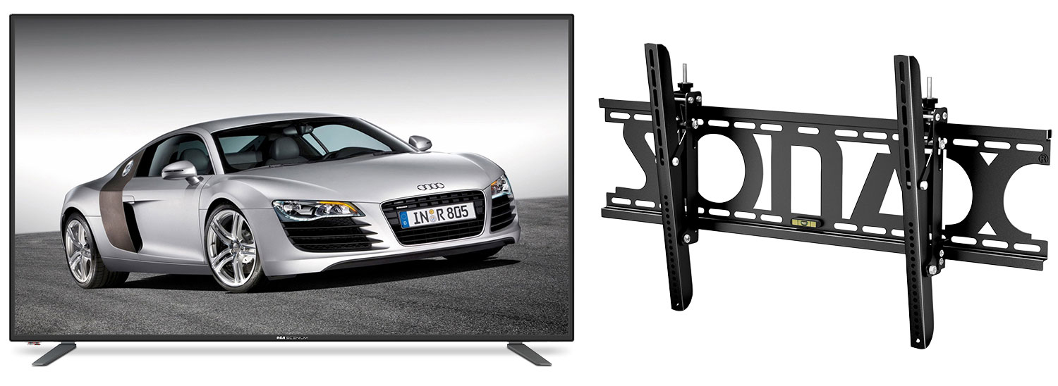 "Televisions - RCA 65"" 4K UHD LED Television with Sonax Adjustable Wall Mount"