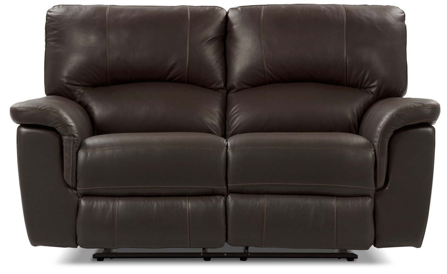 Kendal Genuine Leather Reclining Loveseat – Brown