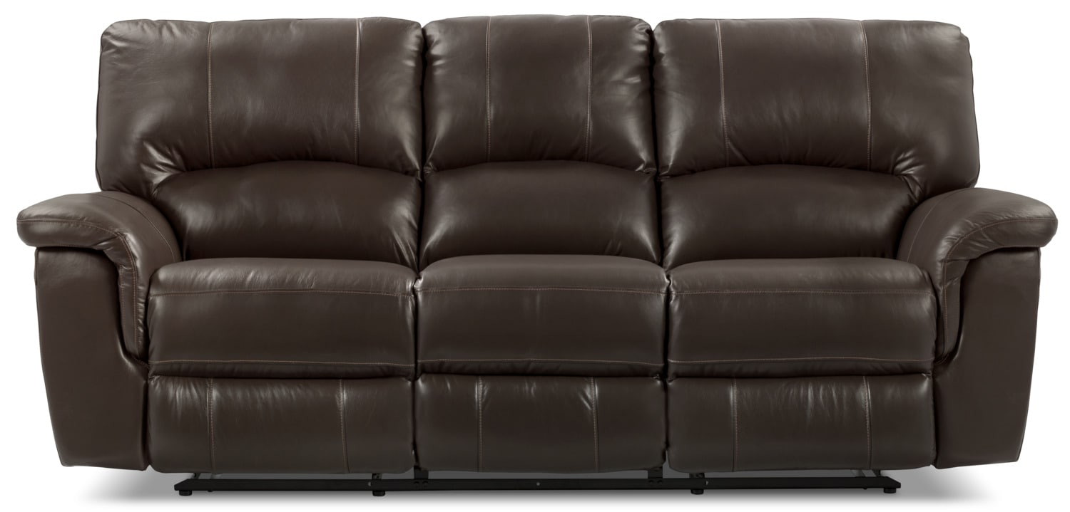 Kendal Genuine Leather Reclining Sofa – Brown