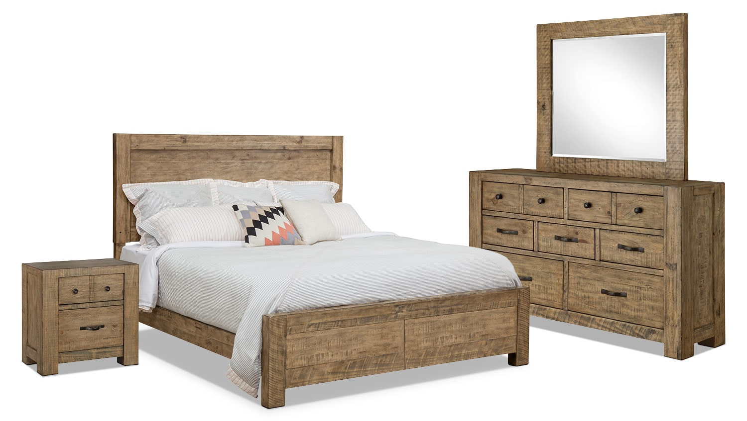 Griffith 6 piece king storage bedroom package the brick for Bedroom furniture packages
