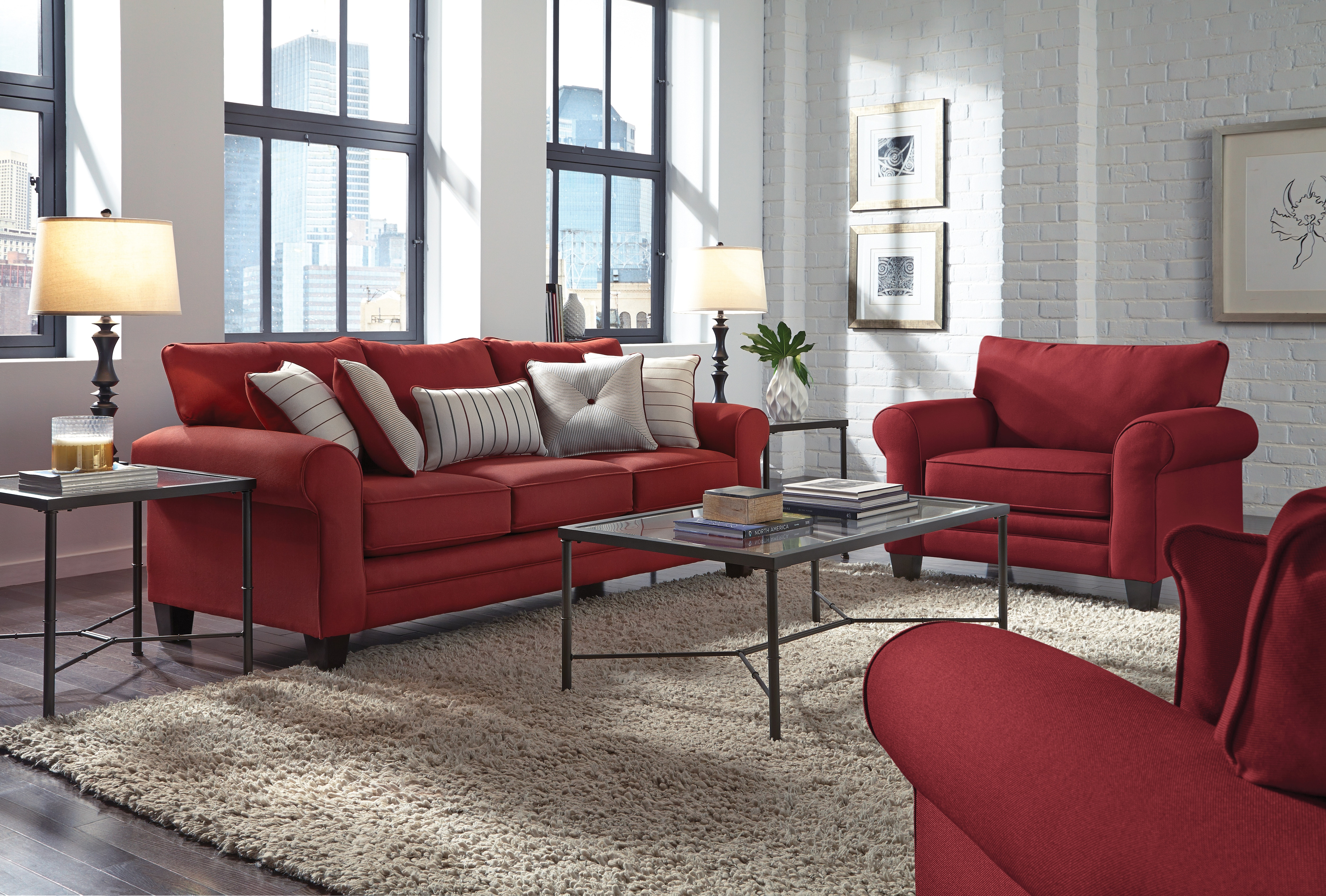 Living Room Furniture - Aspire Ottoman - Red