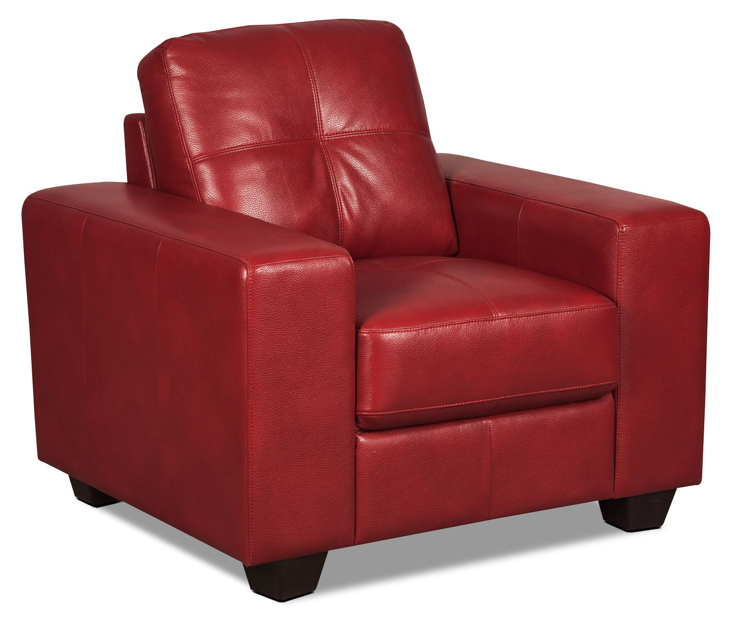 Costa Leather-Look Fabric Chair – Red