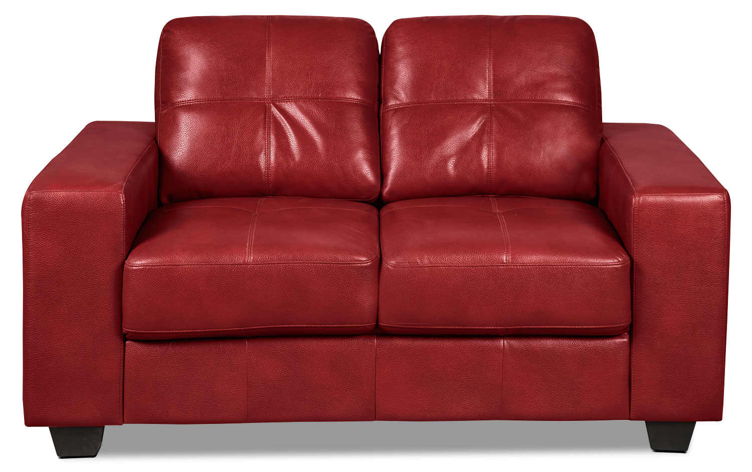 Living Room Furniture - Costa Leather-Look Fabric Loveseat – Red