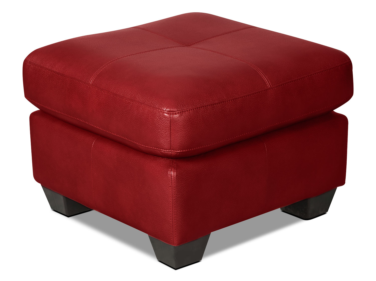 Costa Leather-Look Fabric Ottoman – Red