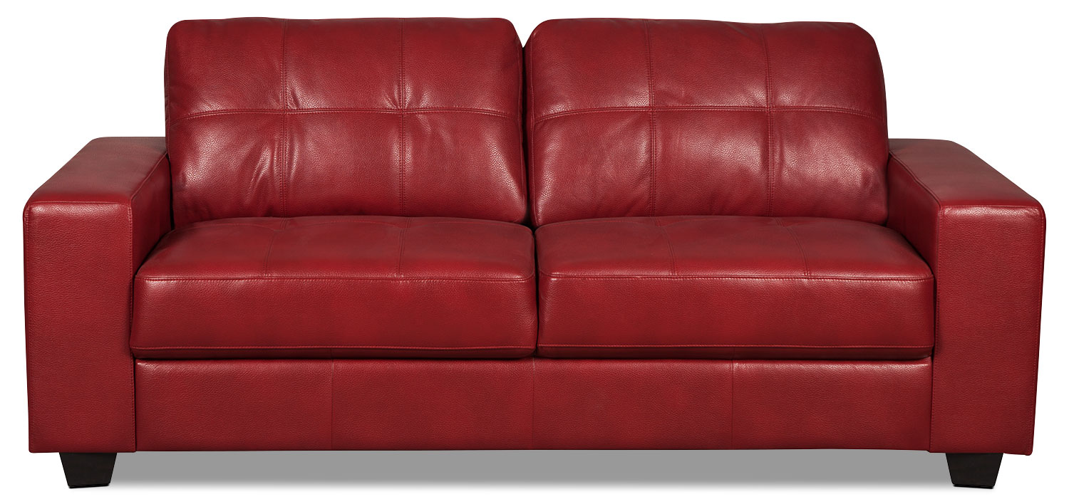 Costa Leather-Look Fabric Sofa – Red