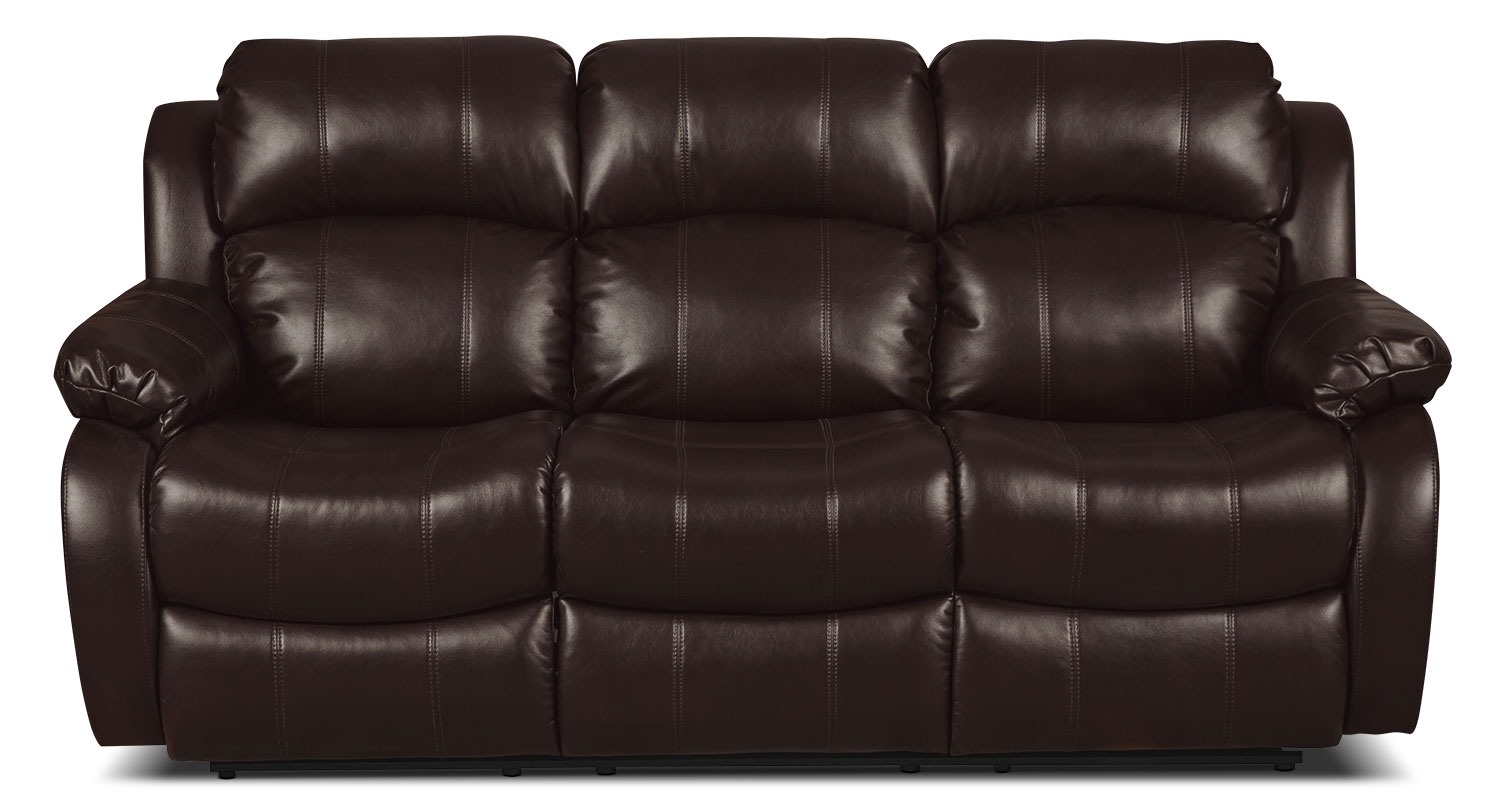 Omega Leather-Look Fabric Reclining Sofa – Brown
