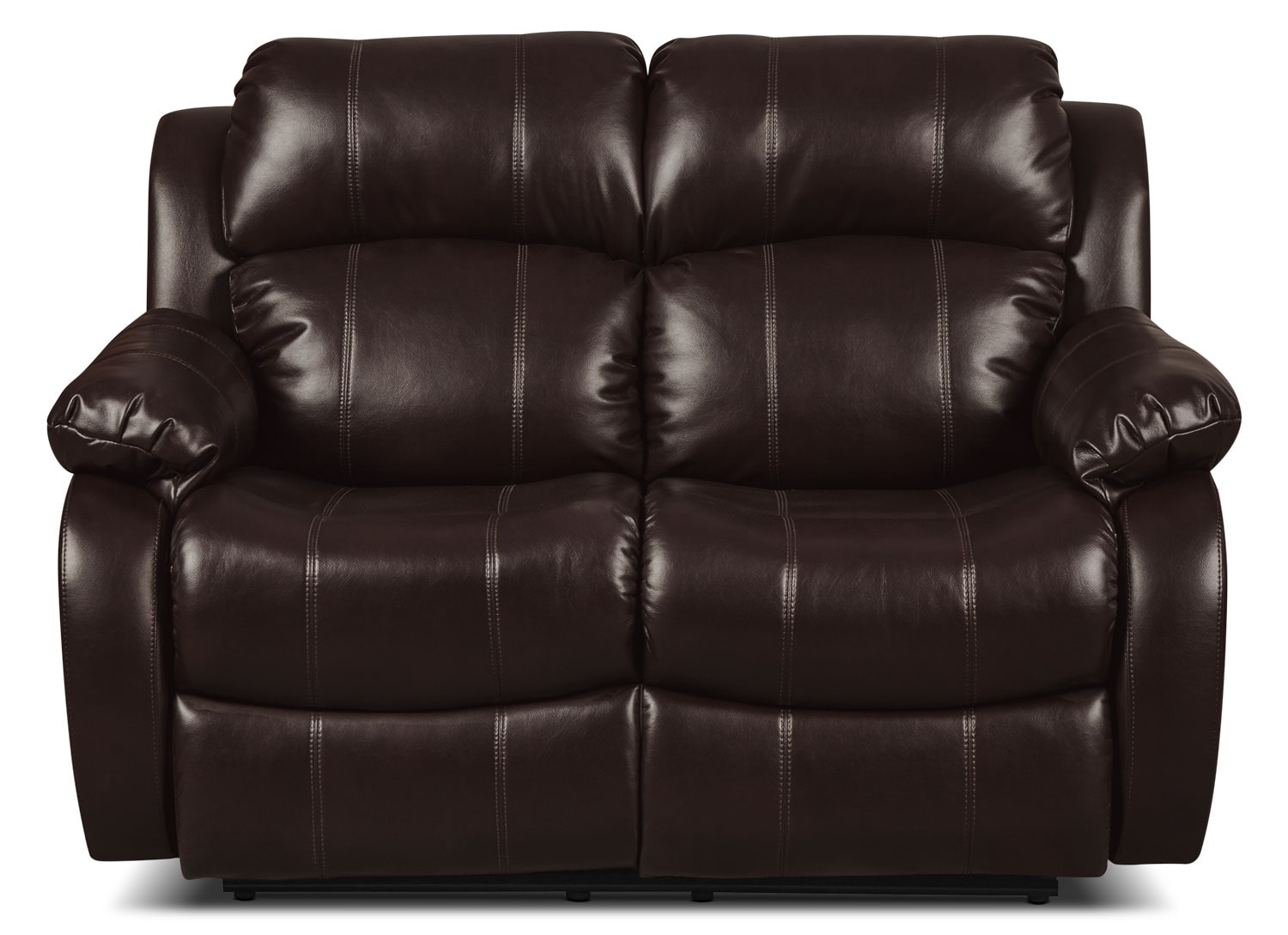 Omega 3 Leather-Look Fabric Reclining Loveseat – Brown