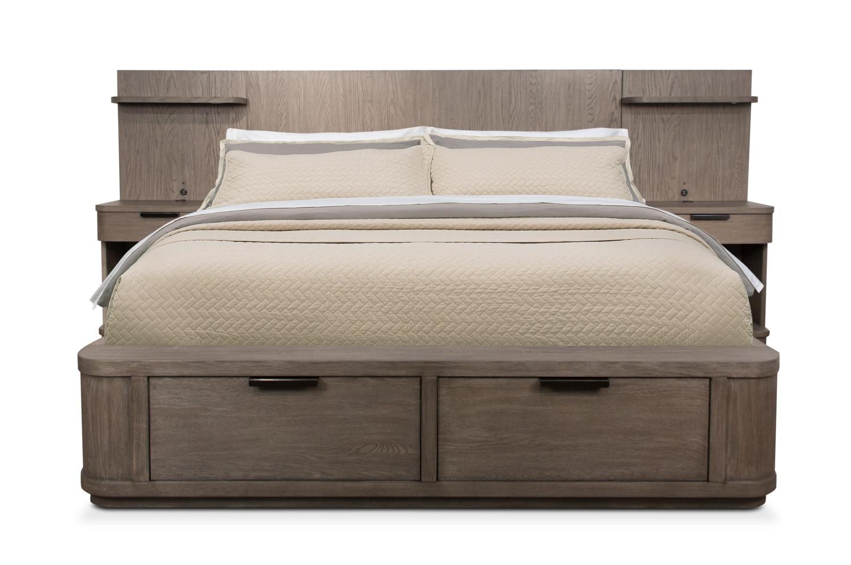 Malibu 5 Piece Queen Low Wall Storage Bedroom Set Gray