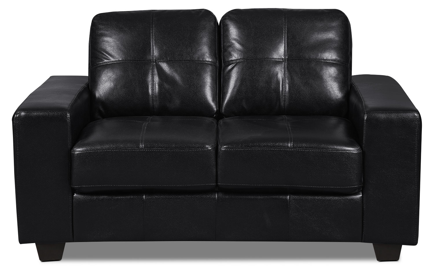 Costa Leather-Look Fabric Loveseat – Black