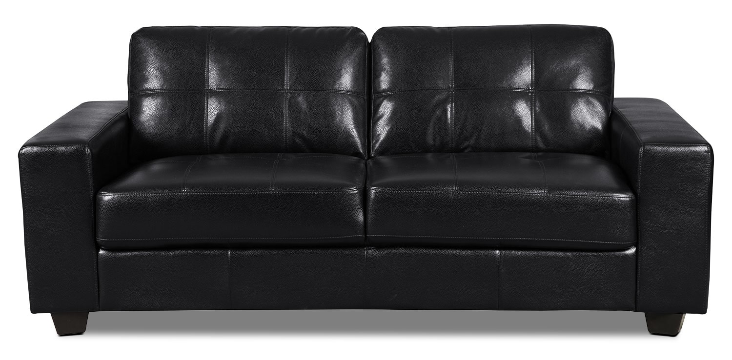Costa Leather-Look Fabric Sofa – Black