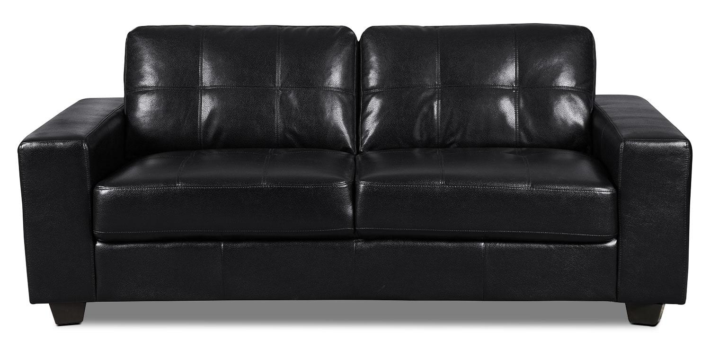 Living Room Furniture - Costa Leather-Look Fabric Sofa – Black