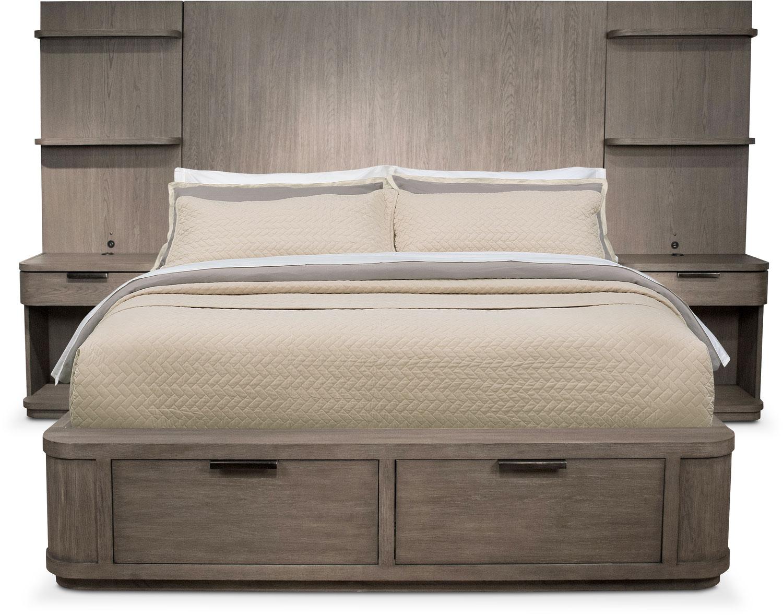 malibu king tall storage wall bed gray value city. Black Bedroom Furniture Sets. Home Design Ideas