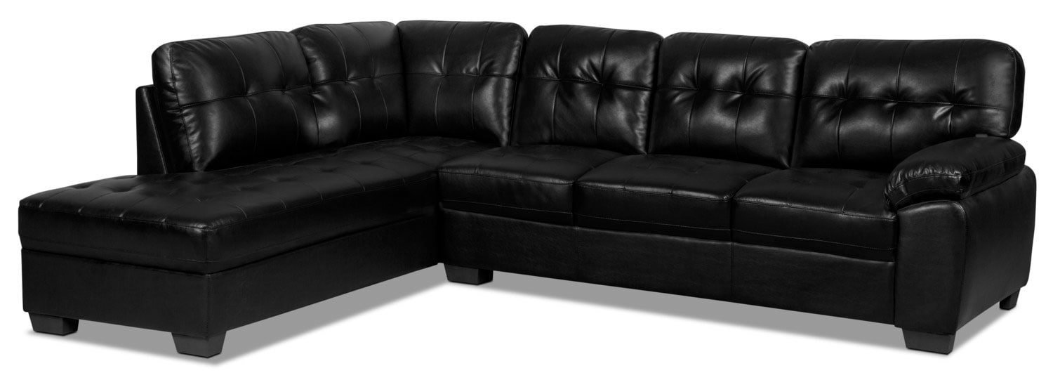 Living Room Furniture - Tobi 2-Piece Leather-Look Left-Facing Sectional – Black