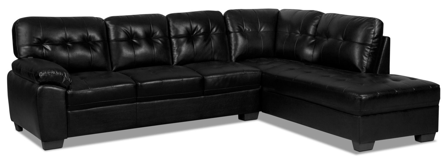Living Room Furniture - Tobi 2-Piece Leather-Look Right-Facing Sectional – Black
