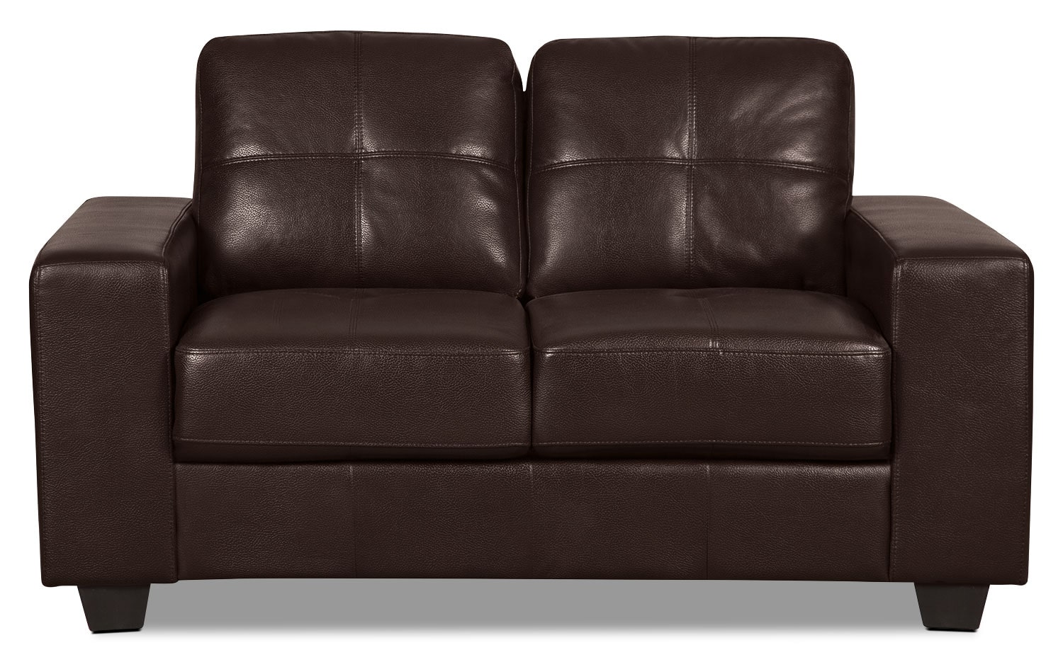 Costa Leather-Look Fabric Loveseat – Brown