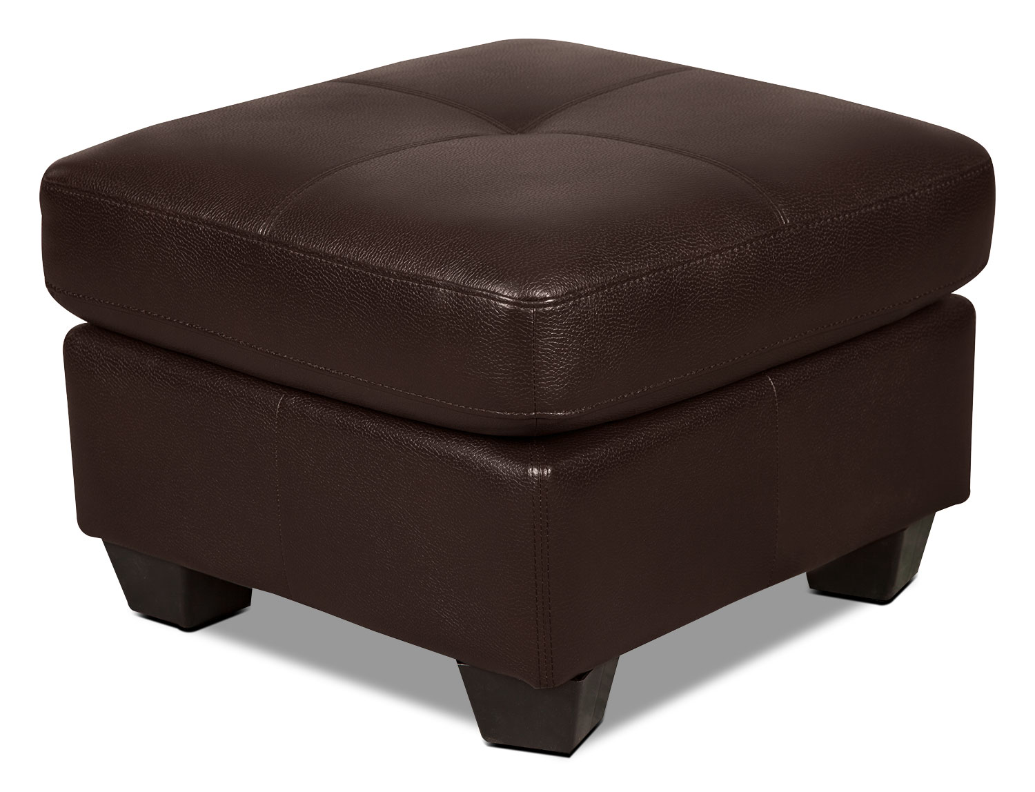 Costa Leather-Look Fabric Ottoman – Brown