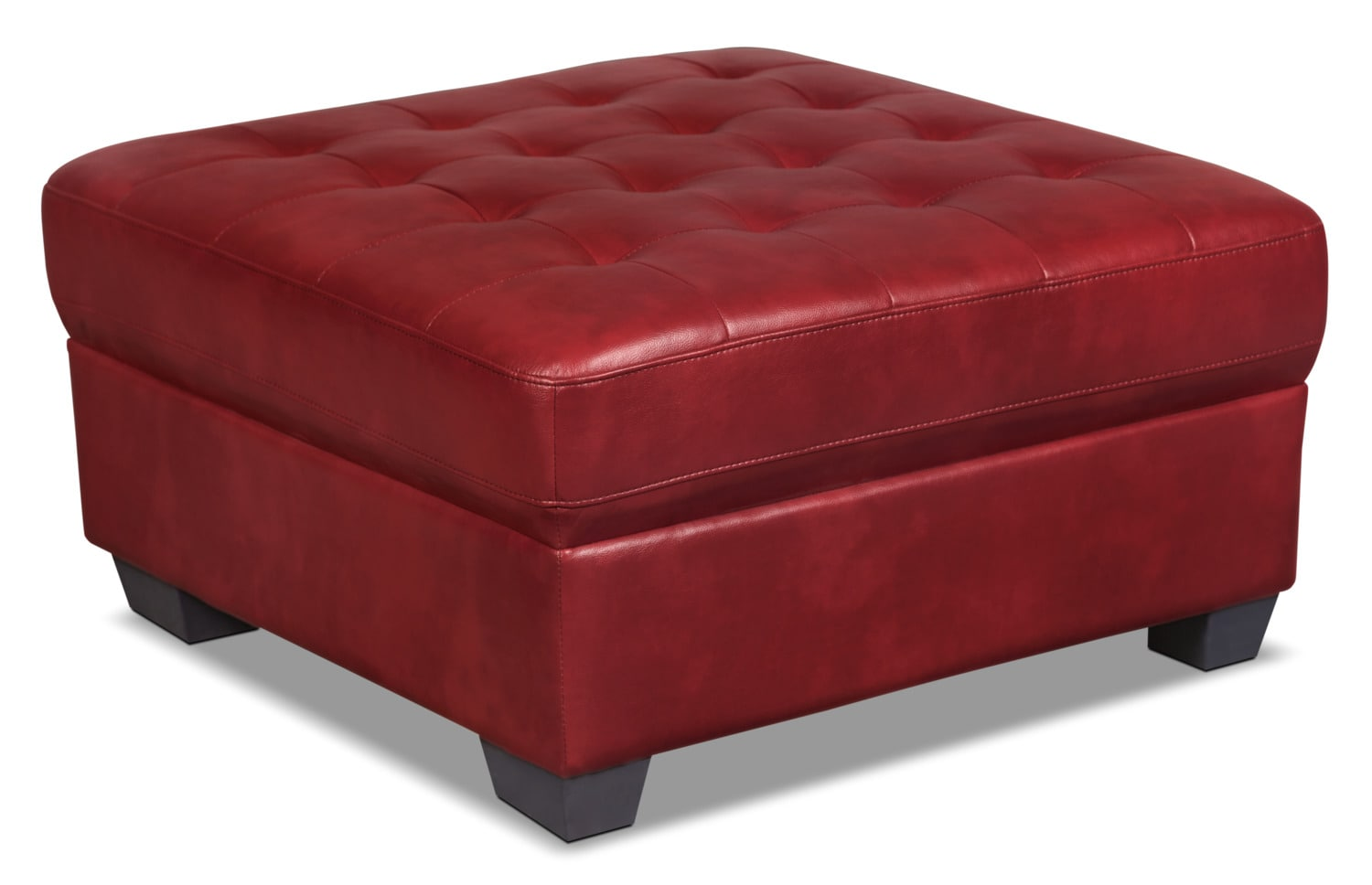 Tobi Leather-Look Fabric Ottoman – Red