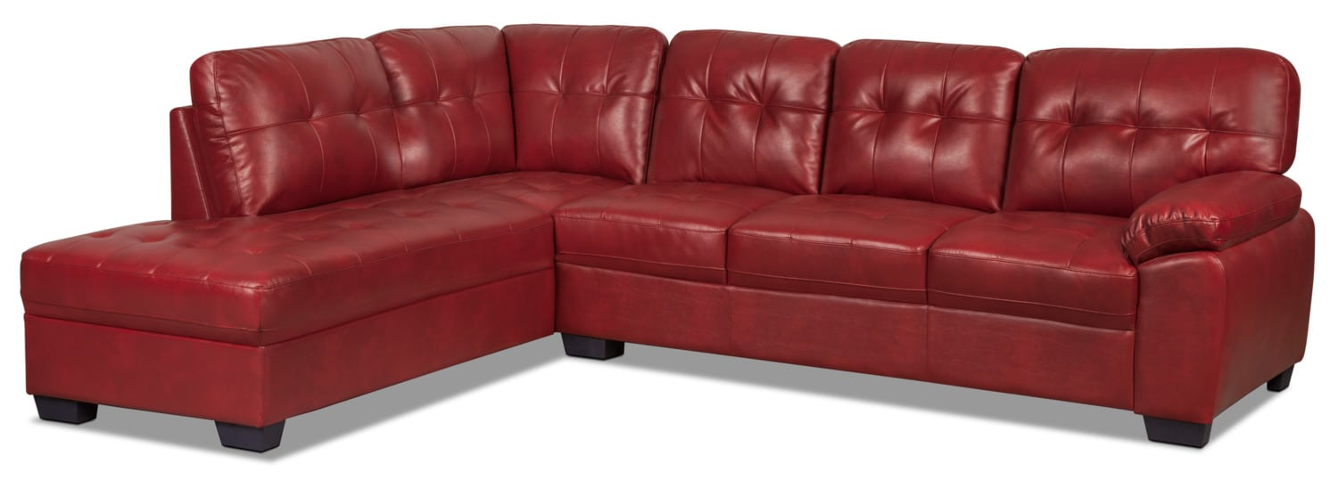 Living Room Furniture - Tobi 2-Piece Leather-Look Left-Facing Sectional – Red