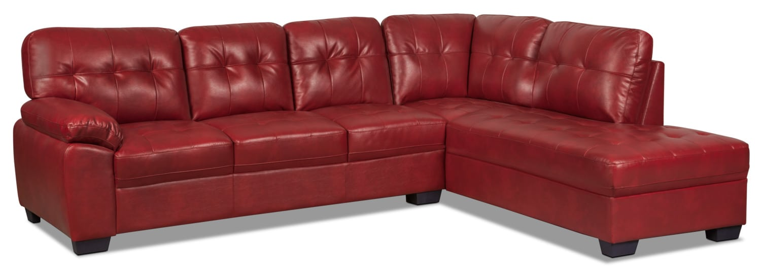 Living Room Furniture - Tobi 2-Piece Leather-Look Right-Facing Sectional – Red