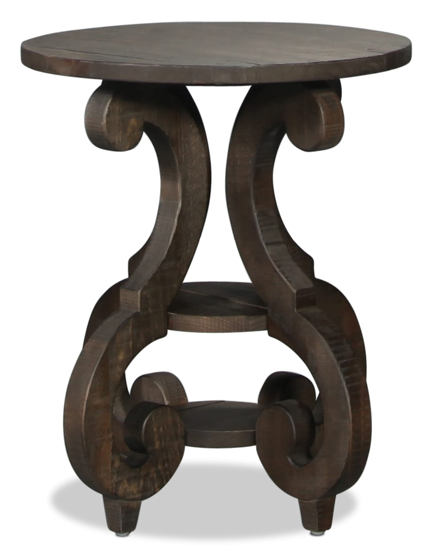 Bellamy Round End Table - Weathered Pine