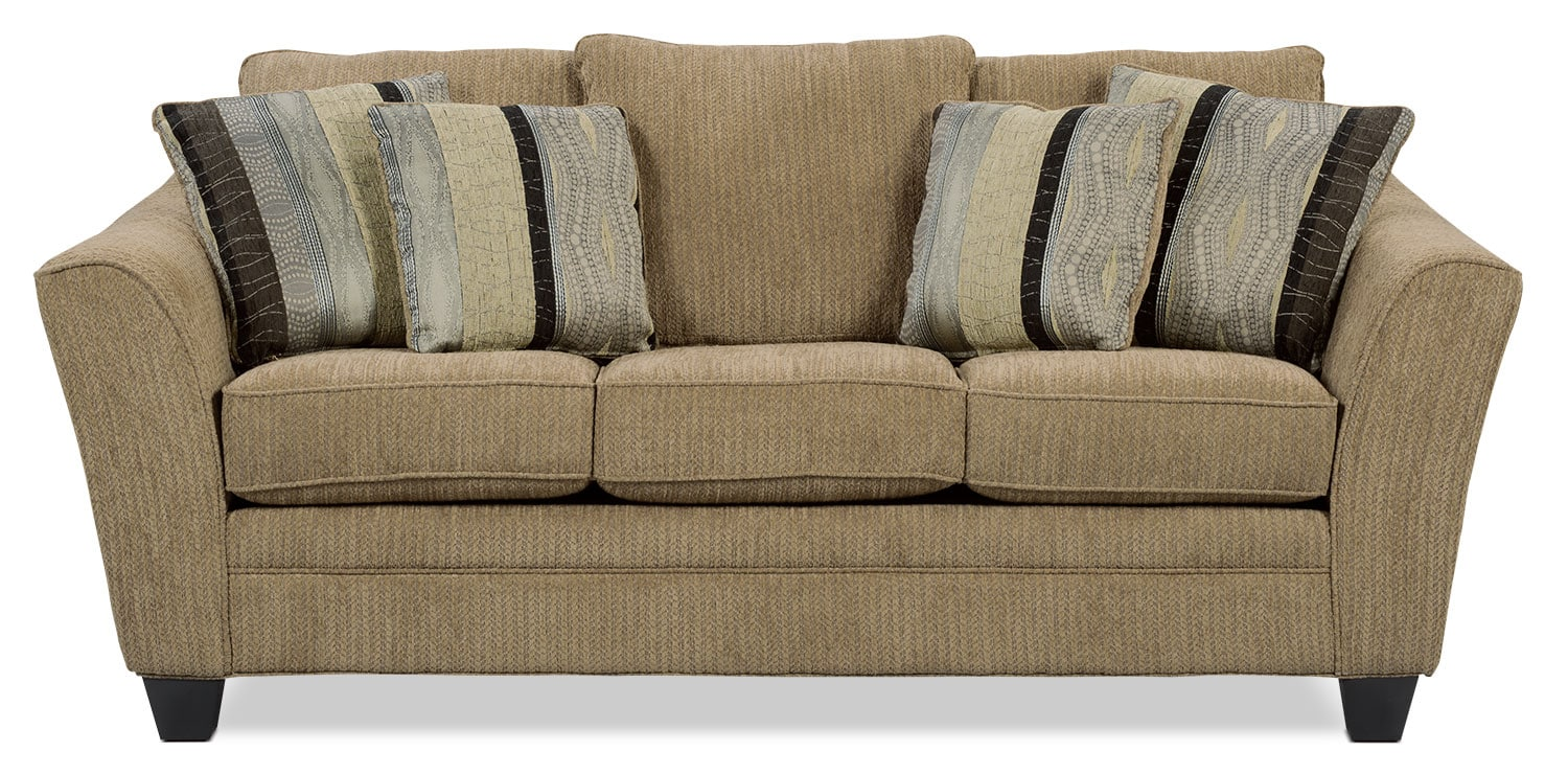 Living Room Furniture - Allen Chenille Studio-Size Sofa – Taupe